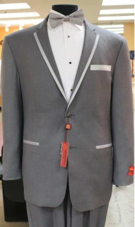 Product# KA7156 Grey~Gray Tuxedo 2 Button Style notch collar or Formal Suit & Dinner Jacker or Blazer Online Sale with Liquid Jet Black Edge Trim Lapel