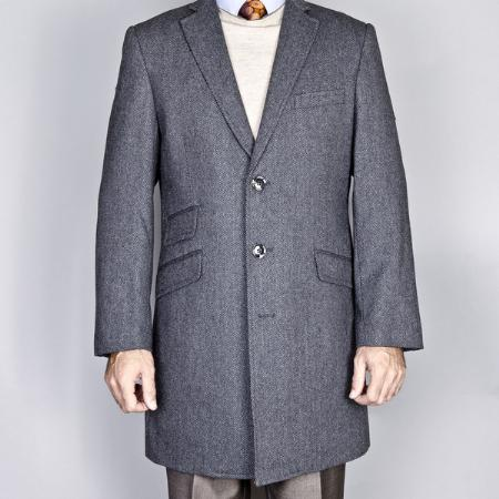 Product# TE27811 Gray Herringbone Tweed Wool Fabric/Cashmere Blend Single Breasted Carcoat