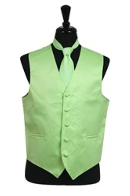 Product# VS1036 Vest Tie Set Mint Green