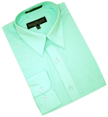 Product# MC100 Mint Green Cotton Blend Dress Shirt With Convertible Cuffs