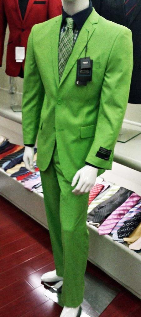 Product# R-637 Italian Design lime mint Green ~ Apple ~ Neon Bright Green Slim narrow Style Fit Suit