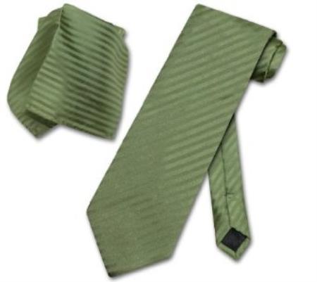 Olive Green Striped Necktie