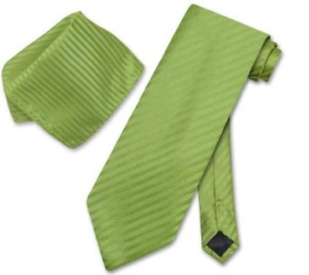 Spinach Green Striped Necktie