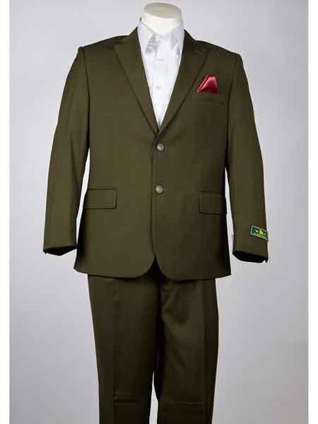 Men's Olive 2 Button Style Single Breasted Notch Lapel Summer Suit
