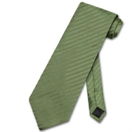 Product# DN8945 Olive Green Striped Vertical Stripes Neck Tie