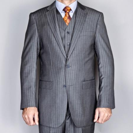 Grey 2 Button Vested Suitt