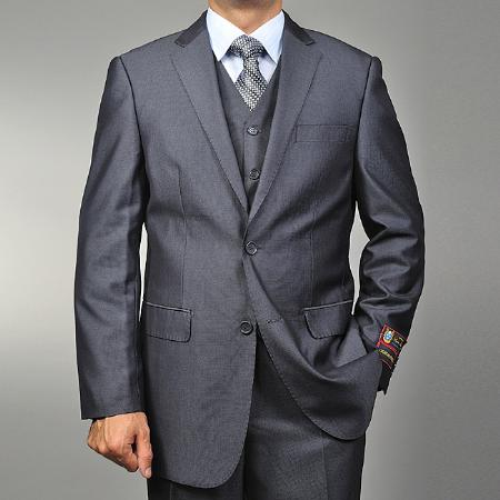 Grey Teakweave 2-button Vested Suit