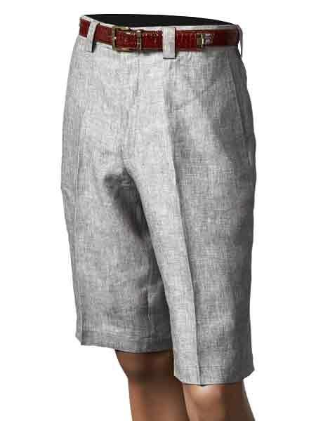 Product# SM868 Pleated Slacks Grey Inserch Brand Brand/Merc Flat Front Shorts 100% Linen