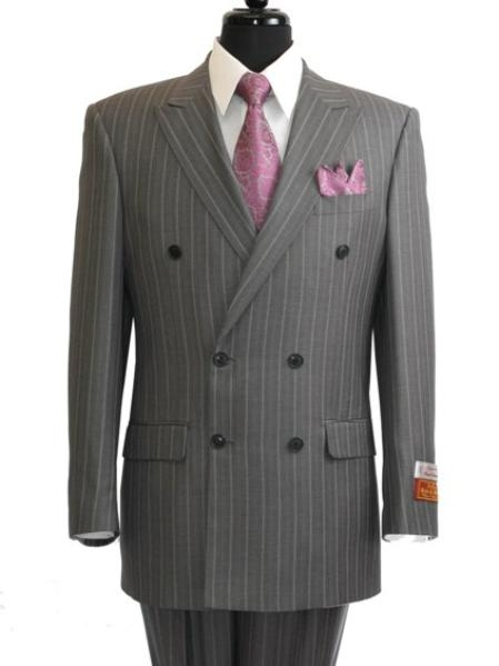 Grey Pinstripe Double Breasted Suit