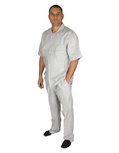 Product# GD1403 Men's 2 Piece 100% Linen Short Sleeve Walking Set With Pleated Pants Grey Shirt