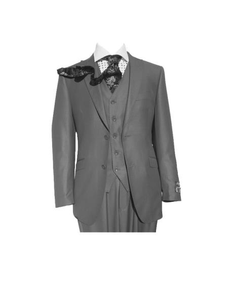 Product# SM448 Peak Lapel Grey Three Piece Slim narrow Style Fit Vested Suit