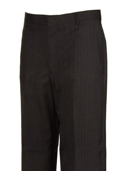 Product# JSM-4481 Grey Striped  Flat Front Dress Pants