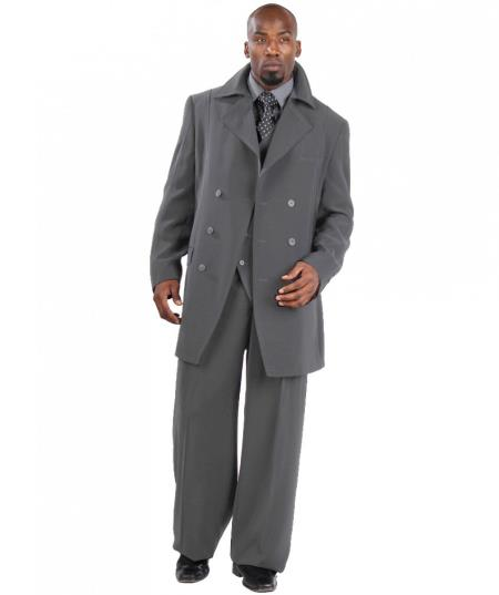Product#NT2867 Suit Three Piece Vested With Peacoat Jacket with Wide L