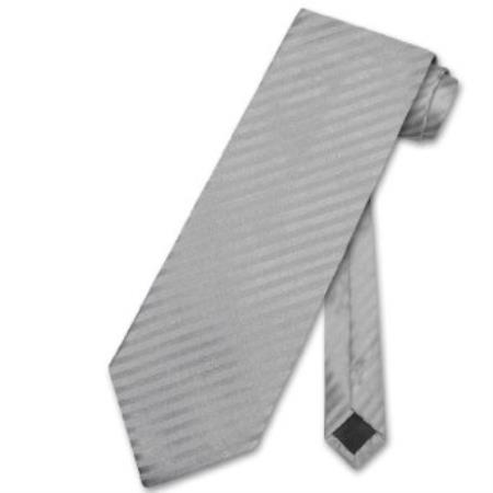 Product# GN8934 Silver Grey Striped Vertical Stripes Neck Tie