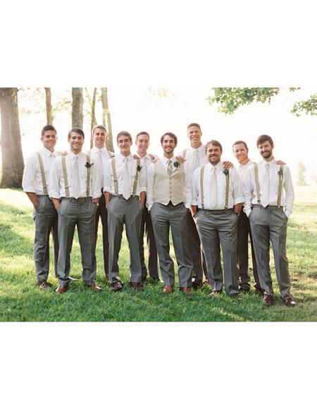 Product# CH1949 Mens casual groomsmen attire any color Shirt + Pants + suspender