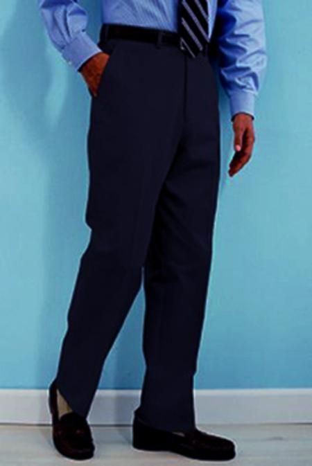 Product# WS412 PA-100 Navy premier quality italian fabric Flat Front Wool Fabric Dress Pants Hand Made Relax Fit