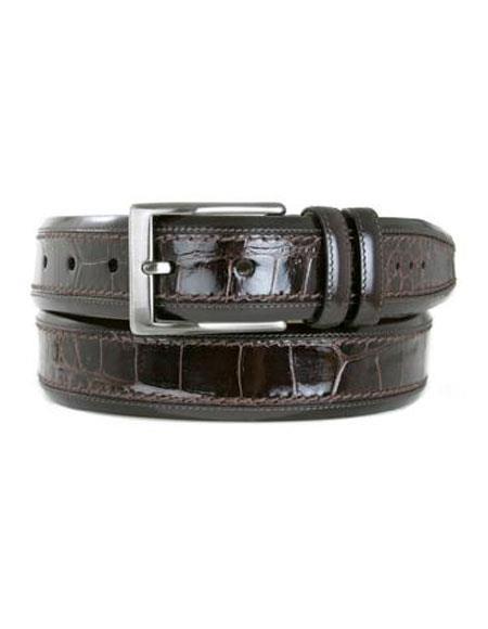 Mezlan Men's Genuine Black Crocodile Skin Belt