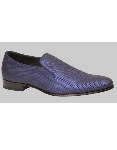 Mens Blue Slip-On Calfskin