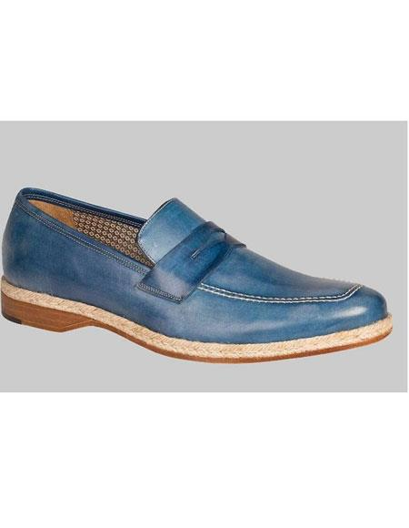 Mens Blue Leather Sole