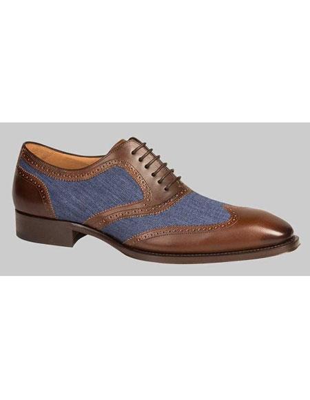 Mens Handmade Brown/Blue Calfskin