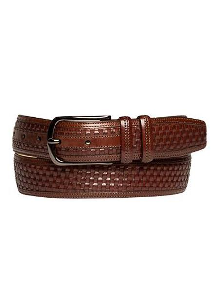 Product# JA251 Mezlan Brand Men's Genuine Calfskin Brown Skin Belt