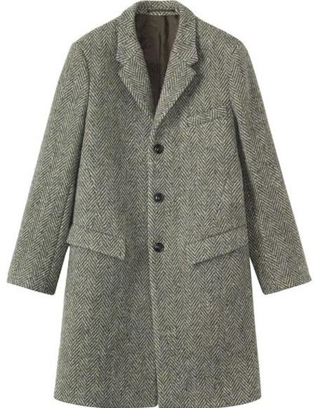 Product# CH1716 Mens Herringbone ~ Tweed 95% Wool Overcoat ~ Topcoat Gray ~ Grey