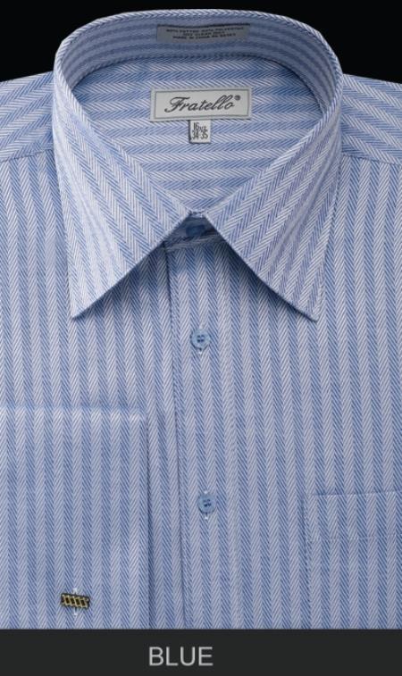 Product# BLE90 French Cuff Dress Shirt - Herringbone Tweed Stripe Blue
