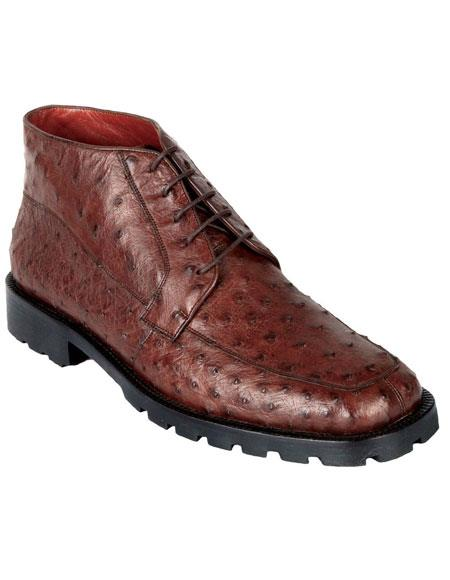Product# JSM-6439 Los Altos Men's Genuine Ostrich Dress Ankle Boots High Top Shoes Rubber Sole