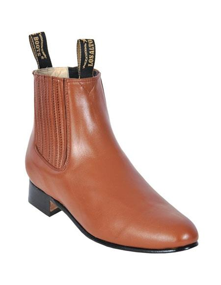 Product# JSM-5557 Los Altos Charro Botin Short Ankle Deer Honey Leather Boots For Men