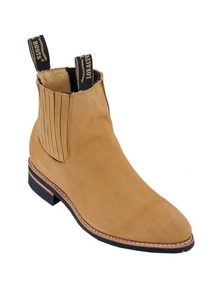 Product# JSM-5568 Los Altos Charro Botin Short Ankle Deer Honey Leather Boots For Men