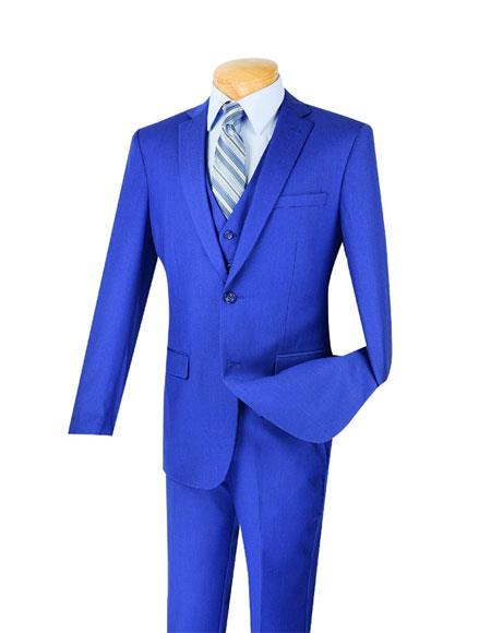 Men's Indigo Blue Poly/Rayon 3 Piece Slim Fit Notch Lapel Suit With Pleated Pant