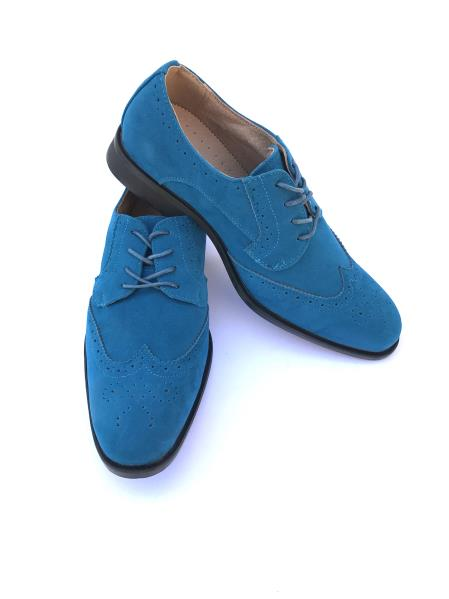 Product# JSM-5036 Men's Cap Toe Lace Up Style Indigo ~ Turquoise ~ Teal Dress Shoes Wingtip