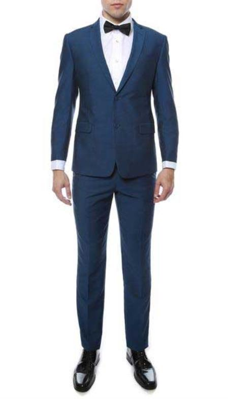Product# SM816 Indigo Two Button Classic Single Breasted Notch Lapel Slim narrow Style Fit Suit
