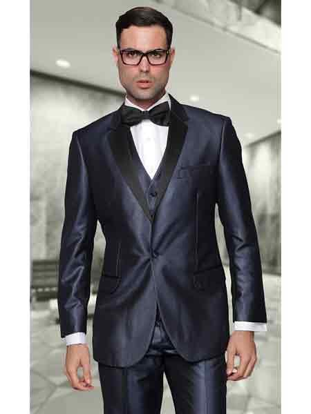 Product# SM877 Indigo 100% Wool Fabric Two Toned Vested 2 Buttons Style Suit With Liquid Jet Black Lapel Italian Tuxedo Looking