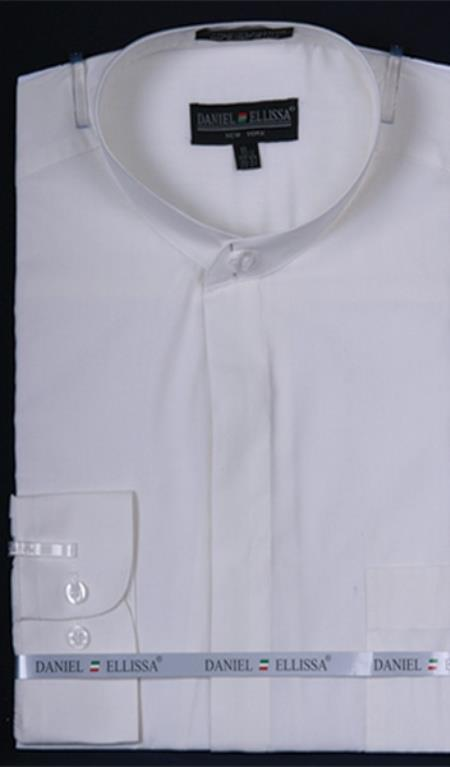 Product# PN_J5 Banded Collar Dress Shirt Ivory