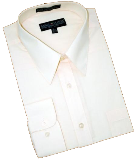 Product# PF882 Solid Cream Ivory Cotton Blend Dress Shirt With Convertible Cuffs
