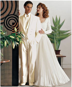 Ivory ~ Cream OFF White Tailcoat Long Tuxedo Suit For sale ~ Pachuco men's Suit ( Jacket and Pants)  For Men Wedding look
