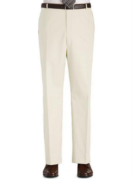 Product# ITY4 Stage Party Pants Trousers Flat Front Regular Rise Slacks - Ivory
