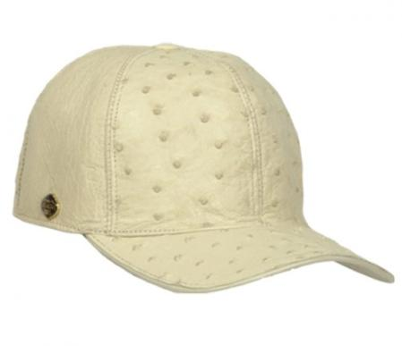 Product# KA1339 Authentic Los altos Cream ~ Ivory ~ Off White Genuine Ostrich Baseball Hat