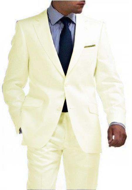 Light Weight Ivory ~ Off White 2 Button Style Tapered Cut Half Lined Flat Front Slim narrow Style Fit Suit Vented Cream