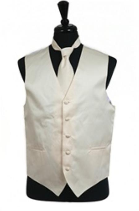 Product# VS1034 Vest Tie Set Ivory