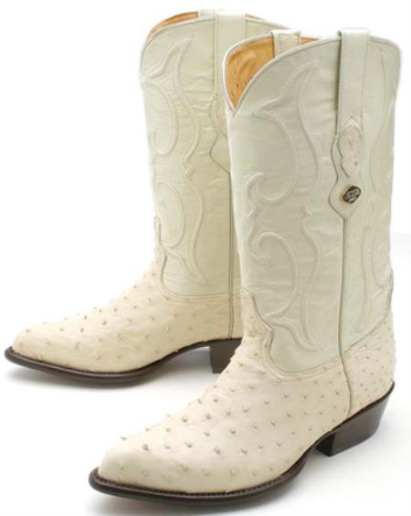 Product#KA3978 Full Quill Ostrich Cream ~ Ivory ~ Off White Authentic Los altos Cowboy Boots Western Rider