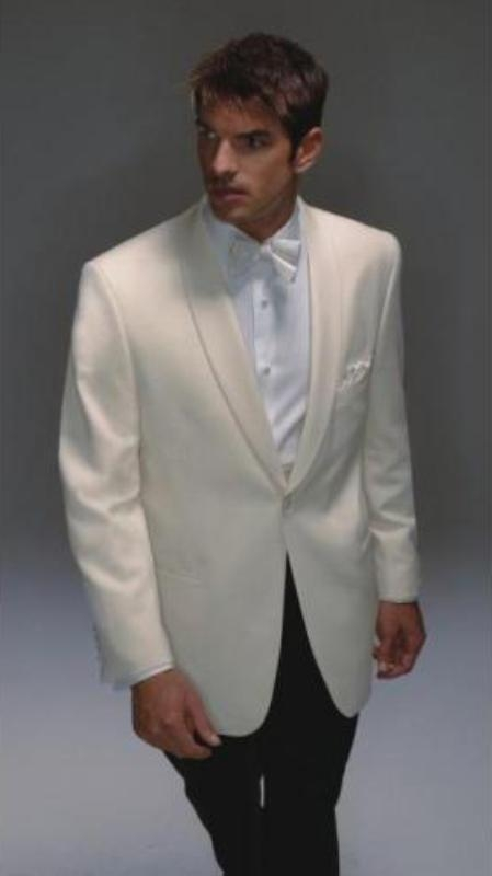 Product# SY347 Wool Fabric Dinner Jacket Single Breasted - Ivory Dinner Jacket
