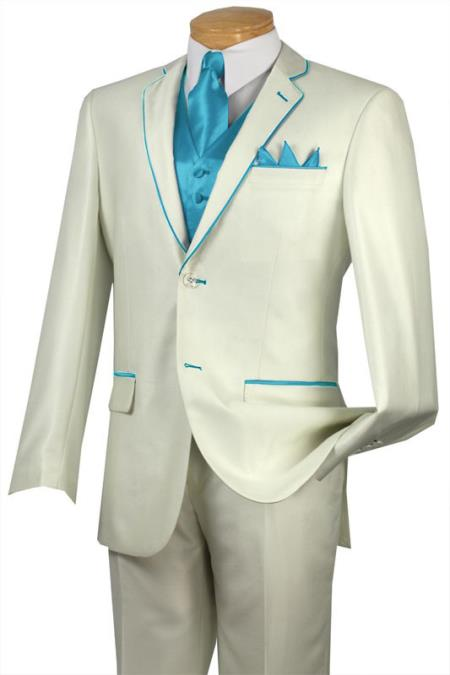 Product# DJ444 Tuxedo turquoise ~ Light Blue Stage Party Trim Microfiber Two Button Notch 5-Piece Choice of Solid White or Ivory