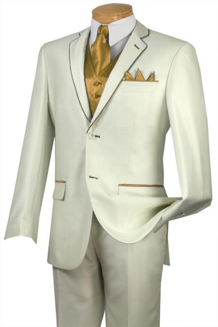 Product# RDC4 Tuxedo Gold-Camel ~ Khaki Trim Microfiber Two Button Notch 5-Piece Choice of Solid White or Ivory