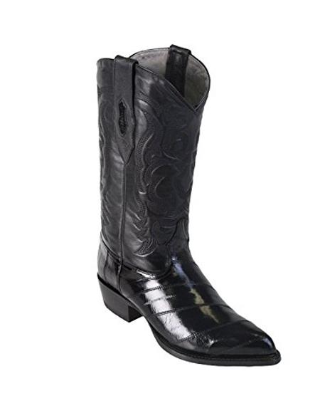 Product# JSM-4634 Men's Black King Eel Skin J-Toe Los Altos Boot With Sandle Vamp