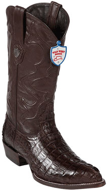 Product# NL8935 Wild West J-Toe brown color shade cai ~ Alligator skin Tail Cowboy Boots