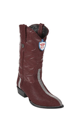 Product# BQ4534 Wild West J-Toe Burgundy ~ Maroon ~ Wine Color Rowstone Finish Boots