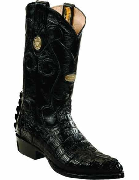 Product# JSM-2225 Men's Genuine Caiman Tail J Toe Leather Insole Handcrafted Black Boots