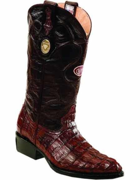 Product# JSM-2228 Men's J Toe Genuine Caiman Tail Handcrafted Leather Lining Burgundy Boots